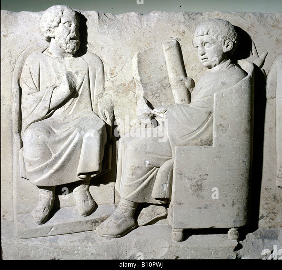 Roman relief Teacher with pupil Romano German period Germany Copyright AAA Collection - Stock Image