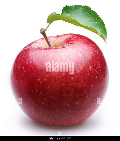 Ripe red apple with a leaf. Isolated on a white background. - Stock Image