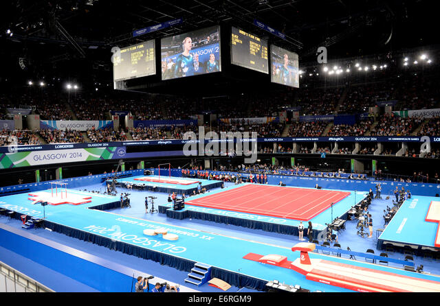 Commonwealth Games Gymnastics Arena 2014. A long Shot of the inside of the SECC. - Stock Image