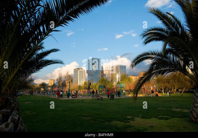 Park in a wealthy neighborhood of Santiago de Chile - Stock Image