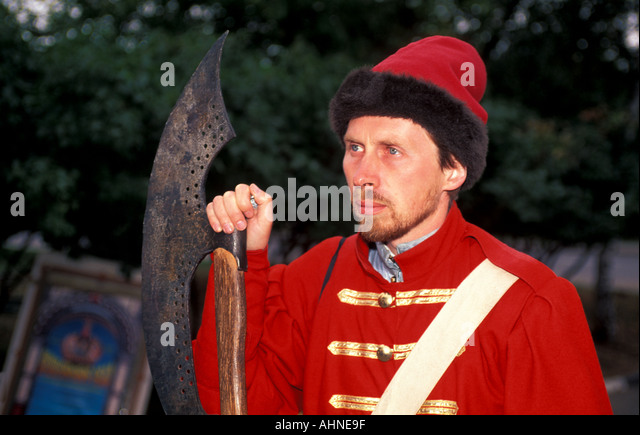Moscow Russia Kolomenskoye Man in Traditional Costume - Stock Image