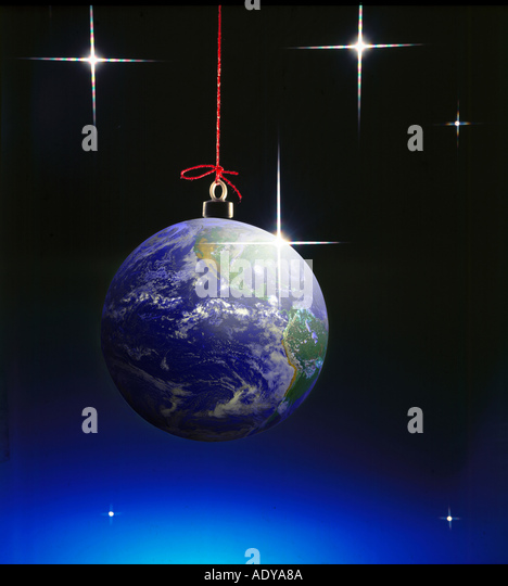 Celebrations I planet as christmas ball x mas hanging firmament star stars universal catholic holiday round void - Stock Image