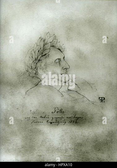 Goethe in his deadbed, drawing by Fr. Preller - Stock Image