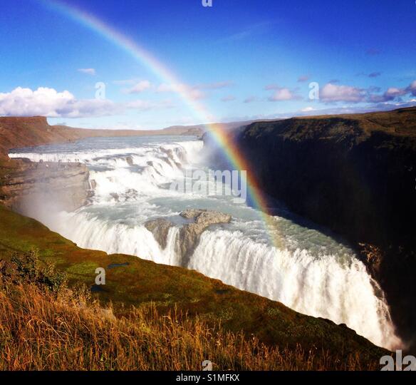 Gullfoss waterfall in Iceland - Stock Image