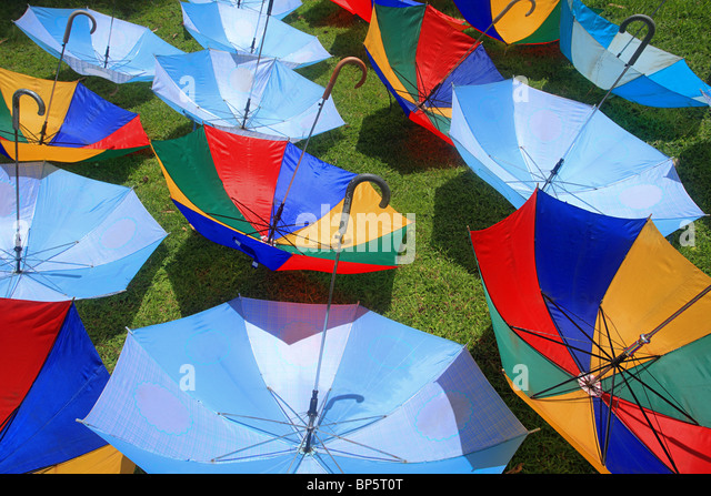 Umbrellas for sun protection, borobudur, indonesia - Stock Image