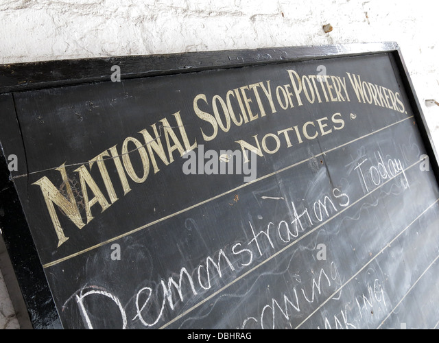 National Society of Pottery Workers notice board from Longton Stoke-On-Trent Great Britain  at the Gladstone Pottery - Stock Image