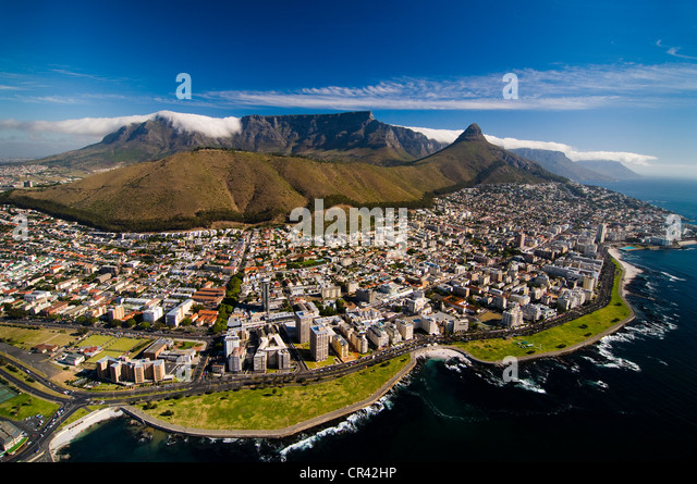 Table Mountain, aerial view, overlooking Cape Town, Western Cape, South Africa, Africa - Stock Image