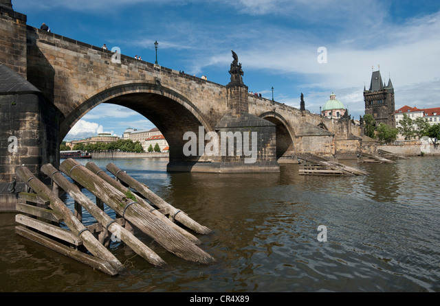 Charles Bridge, Karlovy Most, Prague, Bohemia, Czech Republic, Europe - Stock-Bilder