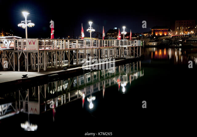 Victoria to Vancouver Ferry Terminal at night in the Inner Harbour - Victoria, Vancouver Island, British Columbia, - Stock Image