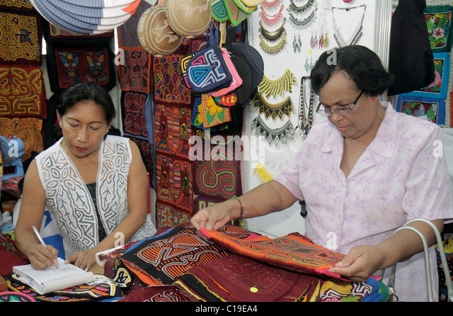 Panama City Panama Panama Viejo Ruinas Panama La Vieja store business handicrafts Kuna Indian mola shopping souvenir - Stock Image