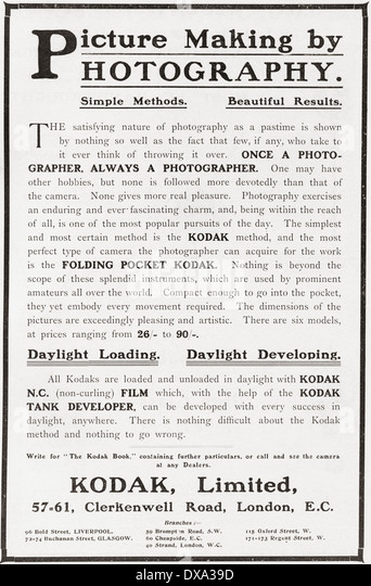 Early 20th century advertisement for photography using Kodak camera and film. - Stock-Bilder
