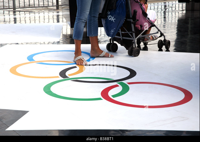 Olympic rings at display for London 2012 Games - Stock Image