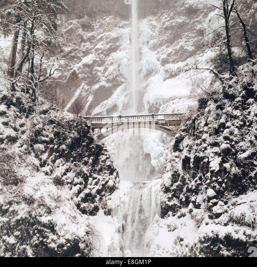 Frozen Waterfall in winter, America, USA - Stock Image