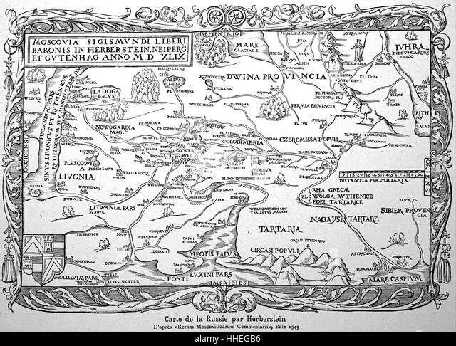 16th Century map of Russia by Herbestein - Stock Image