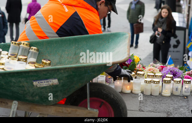 Stockholm, Sweden, April 9th, 2017. Early sunday morning and two days after the terrorist attack at Drottninggatan - Stock Image