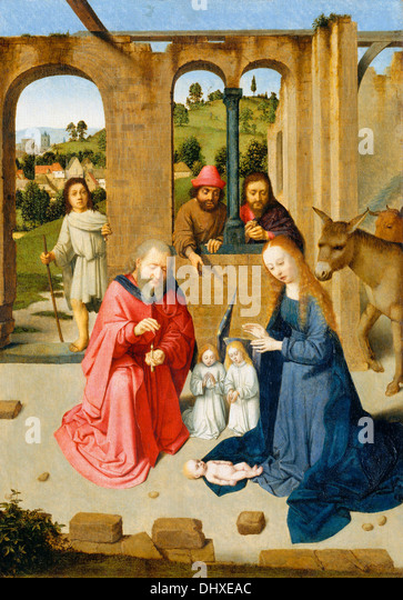 The Nativity - by Gerard David, 1480's - Stock Image