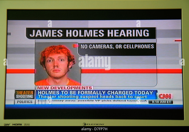 Miami Beach Florida TV television screen flat panel HDTV monitor CNN cable news James Holmes mug shot 2012 Aurora - Stock Image