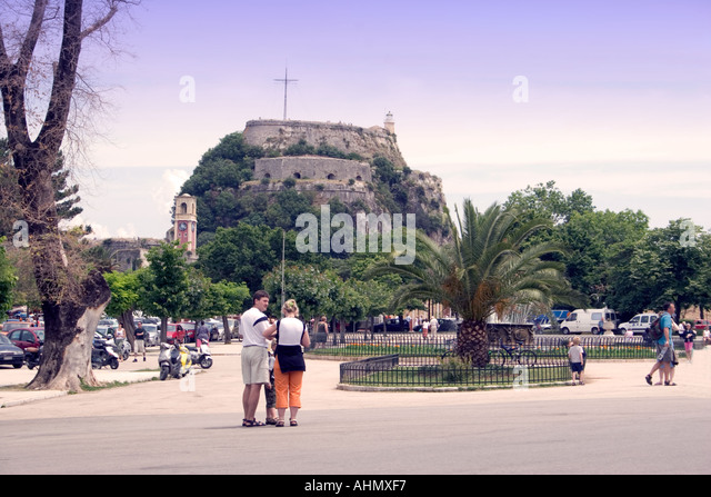 Spianada and Old Fortress Kerkyra Corfu - Stock Image