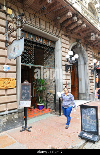 An old restaurant in Old Town Montevideo, Uruguay. - Stock Image