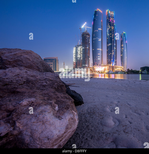 Etihad Towers in Abu Dhabi at sunrise, UAE - Stock Image