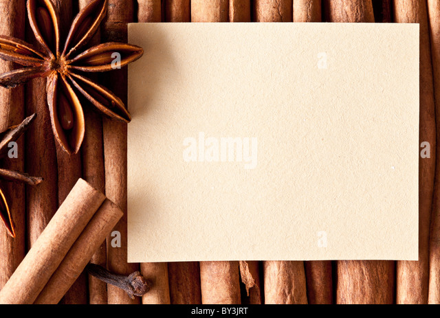 Image texture of paper on the kitchen spices. - Stock Image