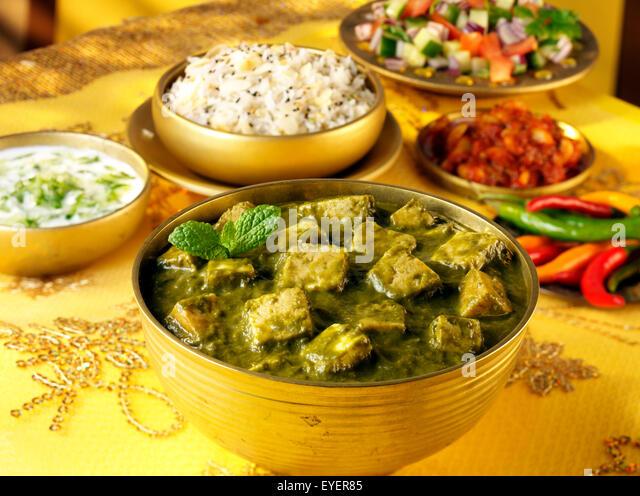 INDIAN PANEER PALAK CURRY - Stock Image