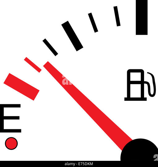 An Illustration of a Fuel Gauge on White Background - Stock Image