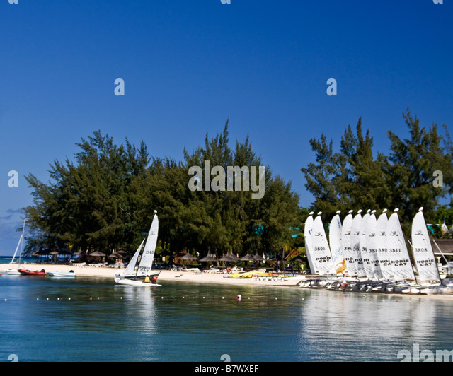 Hobie Cats at beach of Club Med at La Pointe aux Canonniers at north east coast Mauritius Africa - Stock Image