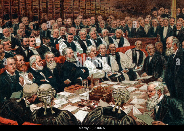 Victorian Era -  the House of Lords debating the Home Rule Bill in 1893. - Stock Image