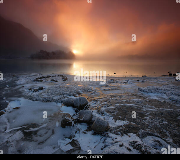 Winter sunset over Loch Shiel, Lochaber - Stock Image