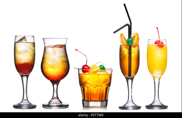 Collection of five alcohol cocktails in warm colors decorated with cherries - Stock Image