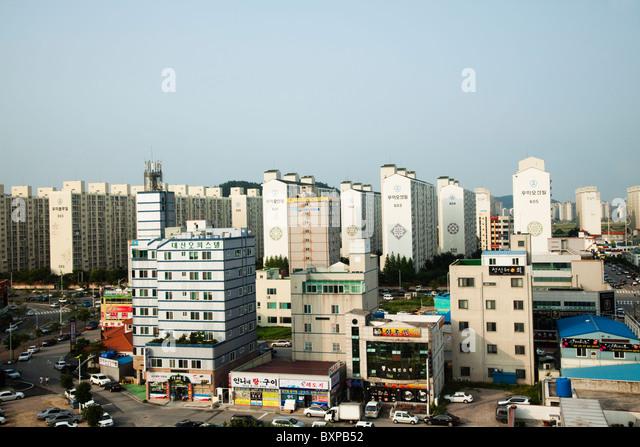 Architecture around Mokpo harbour, South Korea - Stock Image