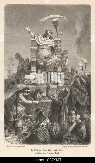 CROESUS KING OF LYDIA  Seated amongst his abundant  riches.       Date: FLOURISHED 560 BC - Stock Image