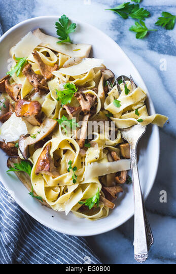 Mushroom herb pasta - Stock Image