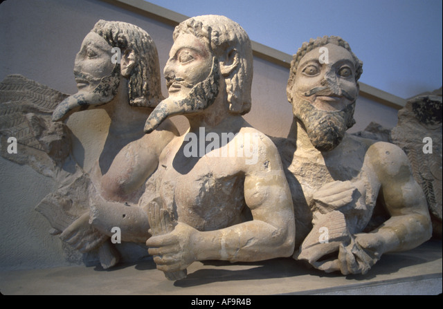 Greece Athens Acropolis Museum three male figures beards part of Parthenon pediment limestone - Stock Image