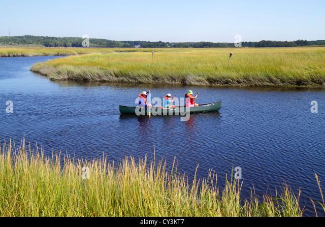 Maine Scarborough Scarborough Marsh Audubon Center and Nature Store Dunstan River canoe rental salt water estuary - Stock Image