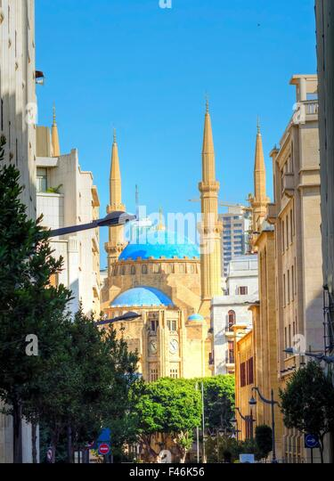 A view of the Mohammad Al-Amin Mosque and the clock tower situated in Downtown Beirut, in Lebanon. Beautiful structures - Stock Image