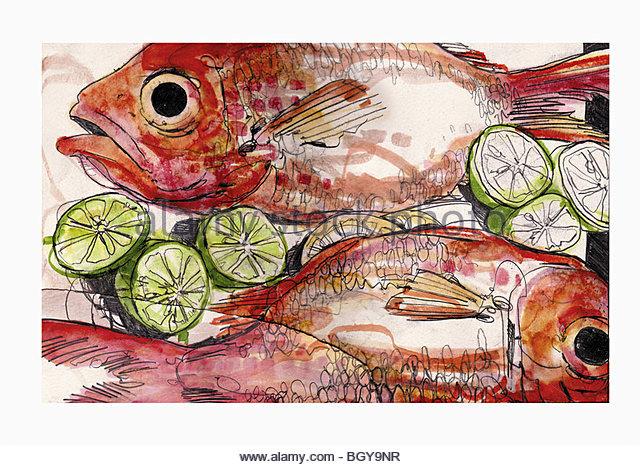 Close up of fish entree - Stock-Bilder