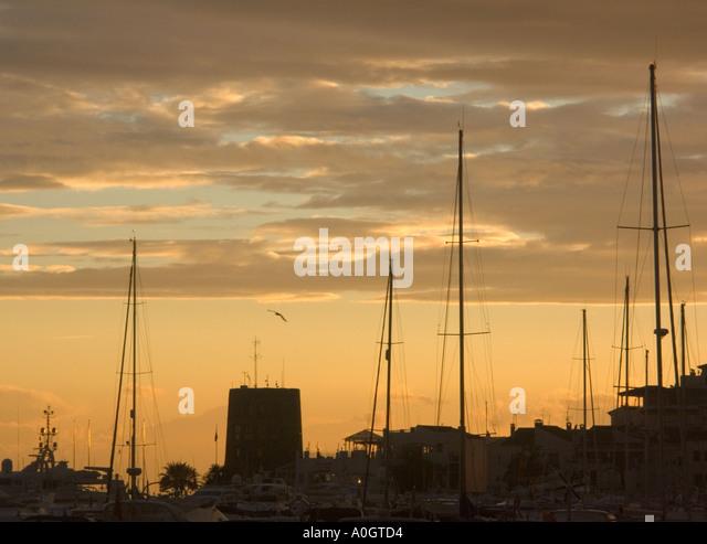Puerto Banus sunset Costa del Sol Spain - Stock Image