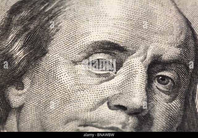 us hundred dollar bill close up shot - Stock Image