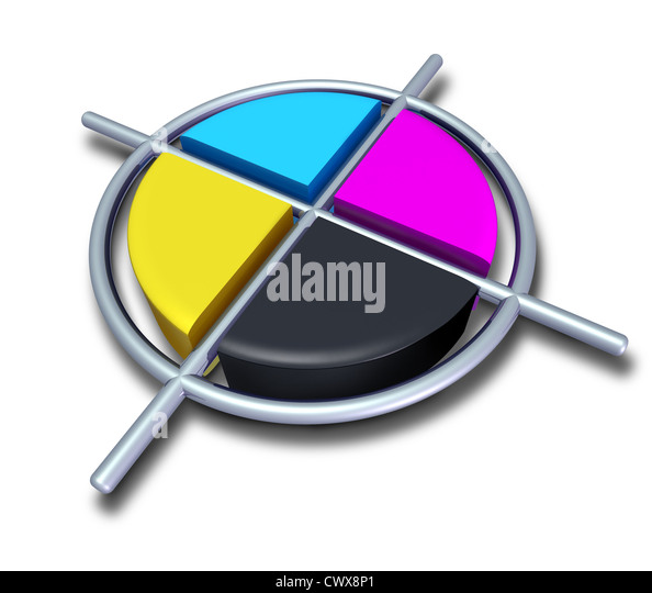 Polygraphic cmyk colors with chrome metalic cross featuring cyan magenta yellow and black symbol of four color printing - Stock Image