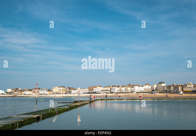Margate Seafront from the Boating Pool - Stock Image