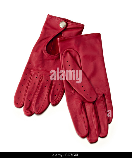 red leather ladies driving style gloves - Stock Image
