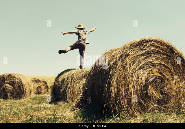 Back view of a man balancing on one leg on top of a hay bale. - Stock Image