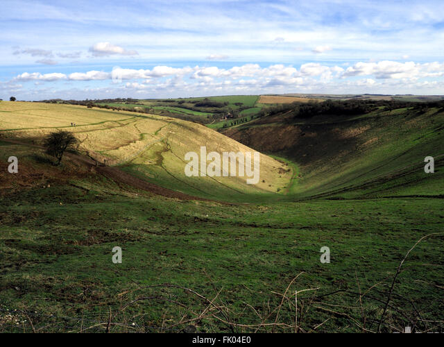 Devil's Dyke: a 100m deep valley in the chalk of the South Downs, Sussex, near Brighton. In the South Downs - Stock Image