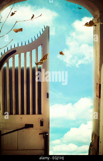 opened gate leading to the sky - Stock Image
