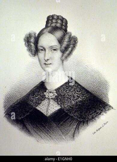 Louise Marie Therese of Orleans (1812-1850) Queen consort of the Belgians 1832-1850.  Lithograph, Paris, c1840. - Stock-Bilder