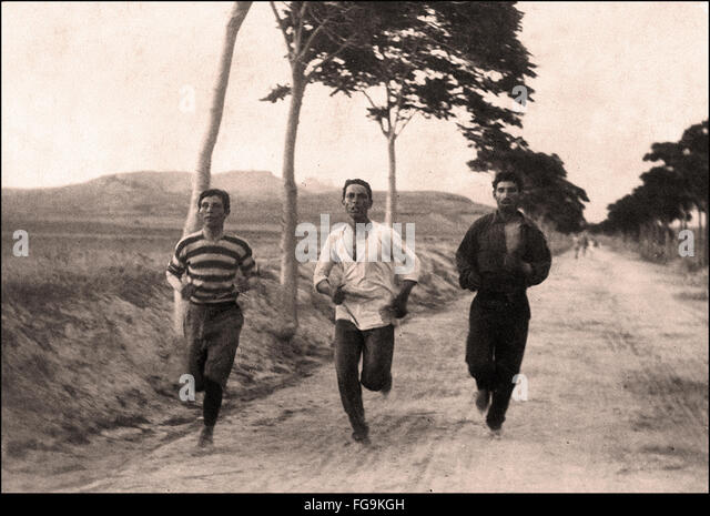 The first Olympic Marathon in the first modern Olympic Games - Athens     1896 - Stock Image