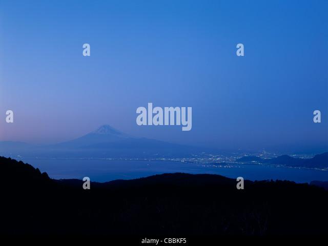 Night View of Mount Fuji and Suruga Bay, Shizuoka, Shizuoka, Japan - Stock Image