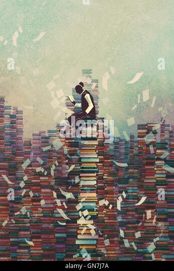 man reading book while sitting on pile of books,knowledge concept,illustration painting - Stock-Bilder